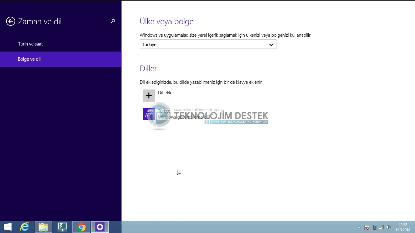Windows dil değiştirme