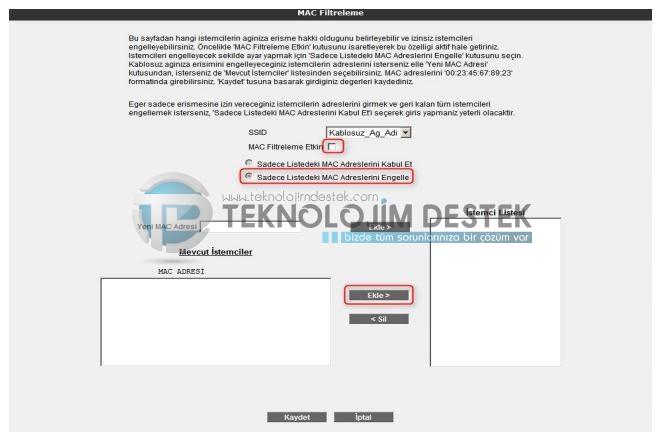 Airties mac filtreleme nasıl yapılır? Airties kablosuz mac filtreleme nasıl yapılır? Airties modem mac filtreleme nasıl kullanılır?