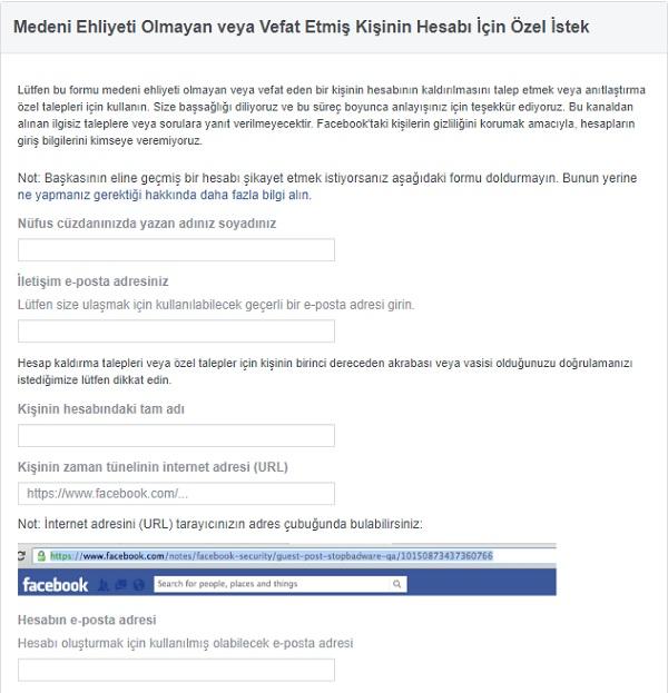 Facebook vefat özel talep formu