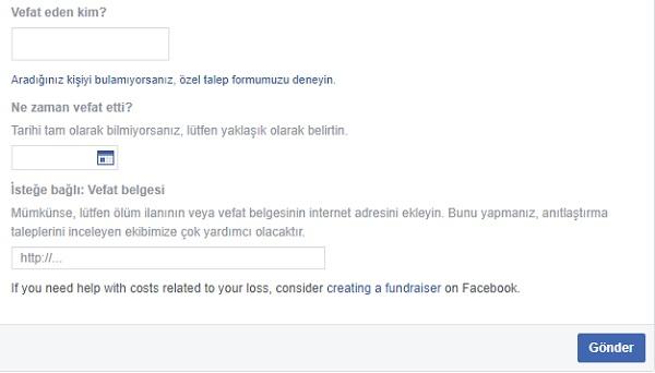 Facebook vefat eden kişi bildirme