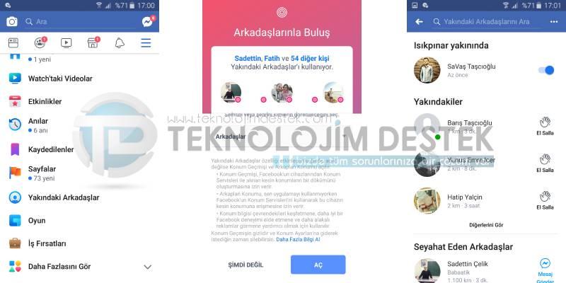 Android için Facebook uygulamasını kullanarak Yakındaki Arkadaşlar özelliğini açmak veya kapatmak için